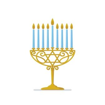 Menorá de ouro de hanukkah