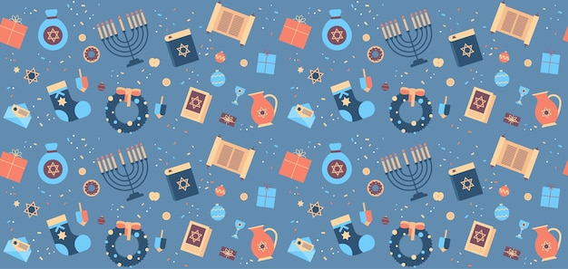 Menorah torá bíblia caixa de presente ícones grinalda conjunto feliz hanukkah judaísmo feriados religiosos celebração festival judaico conceito padrão sem emenda ilustração vetorial horizontal