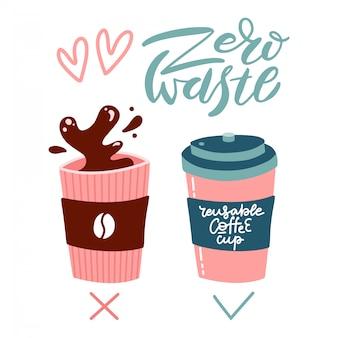 Menos conceito de cartaz de plástico. copo descartável vs copo reutilizável. desperdício zero. ilustração plana.