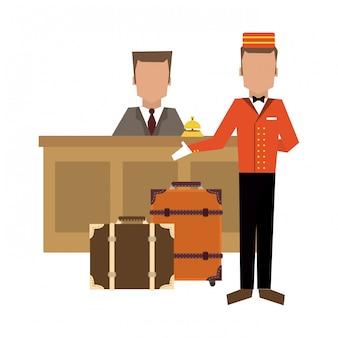 Mensageiro com bagagem na recepção