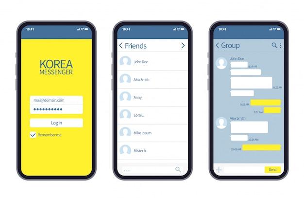 Mensageiro coreano. interface do kakao talk com caixas de bate-papo, lista de contatos e modelo de mensagem vetorial de ícones