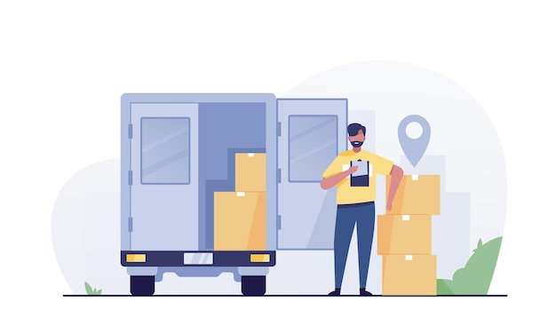 Mensageiro de entrega. caminhão de entrega com pacote.