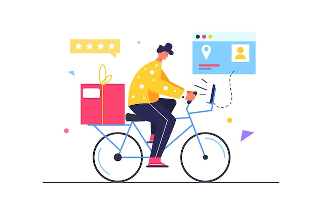 Mensageiro entregando mercadorias em bicicletas, mercadorias na caixa, telas virtuais