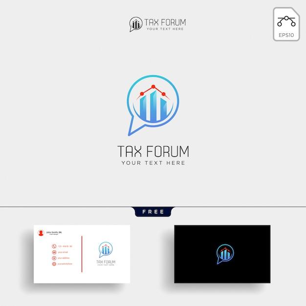 Mensagem, bate-papo, modelo de logotipo financeiro de contabilidade do fórum