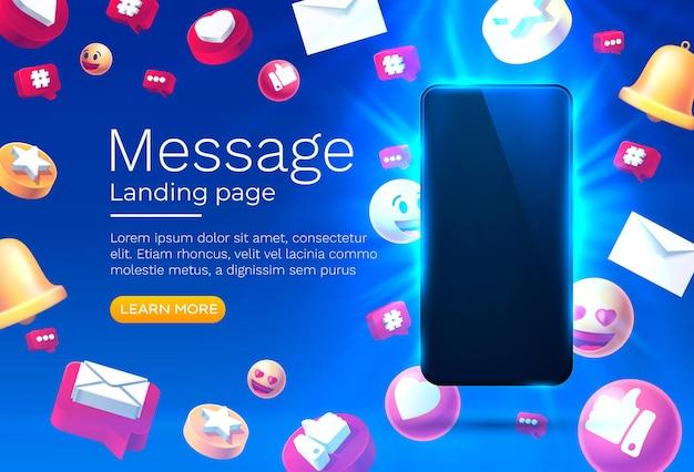 Mensagem com muitos ícones de bate-papo para comunicação de pessoas vetor de página de destino