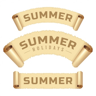 Mensagem das férias de verão na ilustração do vetor da fita do papel do rolo.