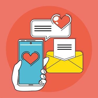 Mensagem de amor na mídia social, mão com celular