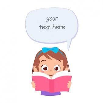 Mensagem de balão feliz criança fofa menina com livro