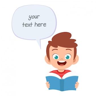 Mensagem de balão feliz menino fofo com livro