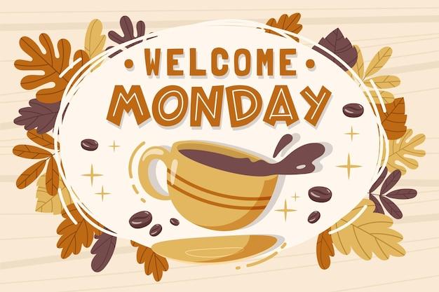 Mensagem de boas-vindas de segunda-feira com ilustrações