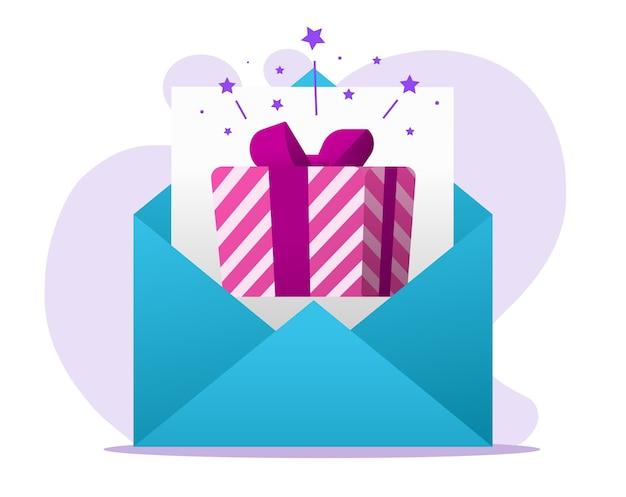 Mensagem de carta de presente on-line por e-mail recebida, correio eletrônico digital com caixa surpresa presente em envelope plano
