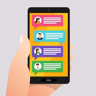 Mensagem de conceito e bate-papo. apresentar por mensagem de texto de ícone. ilustrar