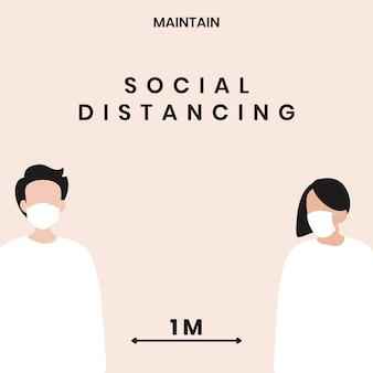 Mensagem de conscientização de coronavírus de distanciamento social
