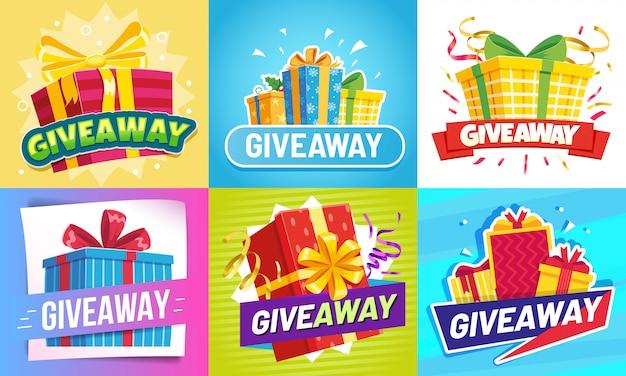 Mensagem de doação. doar presentes, recompensa vencedor e prêmio de presente desenhar conjunto de ilustração de postagens de mídia social