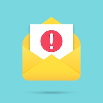 Mensagem de e-mail com ícone de atenção em um design plano