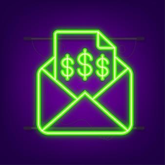 Mensagem de e-mail com ícone de fatura recebida com envelope aberto em formato plano de documento de fatura