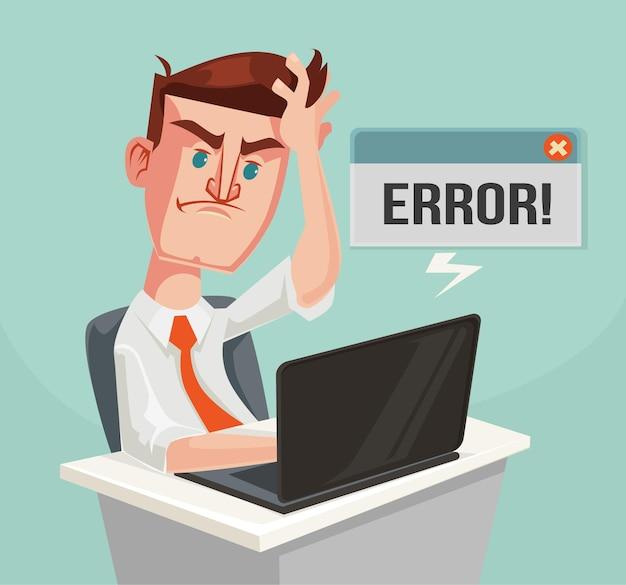 Mensagem de erro e caráter intrigado do trabalhador de escritório