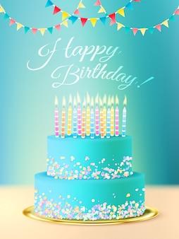 Mensagem de feliz aniversário com bolo realista