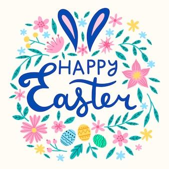 Mensagem de feliz dia da páscoa desenhados à mão