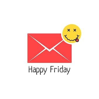 Mensagem de feliz sexta-feira com emoji bêbado. conceito de avatar, doença, doença, gripe, doente, sintoma, doença, alcoólatra, embriaguez. estilo plano tendência logotipo moderno design gráfico em fundo branco