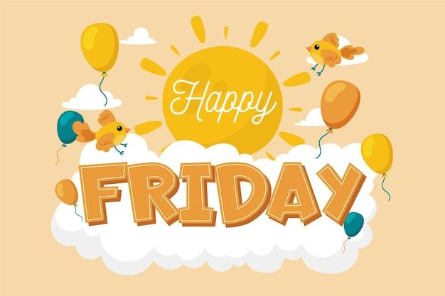 Mensagem de feliz sexta-feira com ilustrações