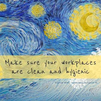Mensagem de higiene no local de trabalho e vetor remix da pandemia de coronavírus the starry night de van gogh