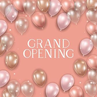 Mensagem de inauguração e balões de hélio