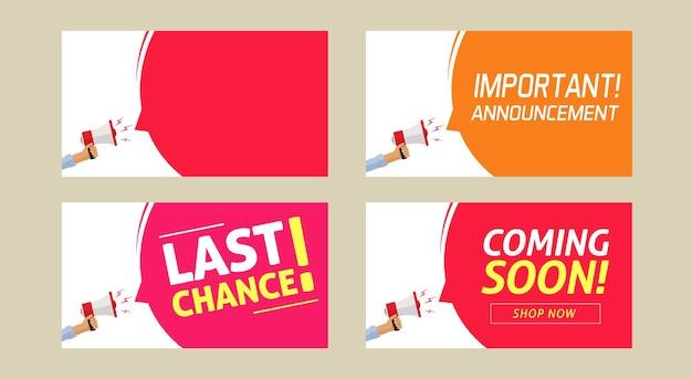 Mensagem de informação de anúncio importante e última chance em breve aviso de alerta de aviso