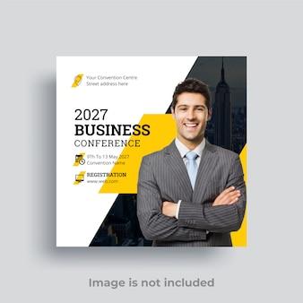 Mensagem de mídia social da conferência de negócios vetor premium
