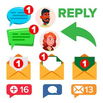 Mensagem de redes de mídia social, conjunto de ícones