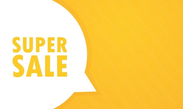 Mensagem de super venda na ilustração do discurso de bolha. anúncio. anúncio. vetor eps 10. isolado no fundo branco
