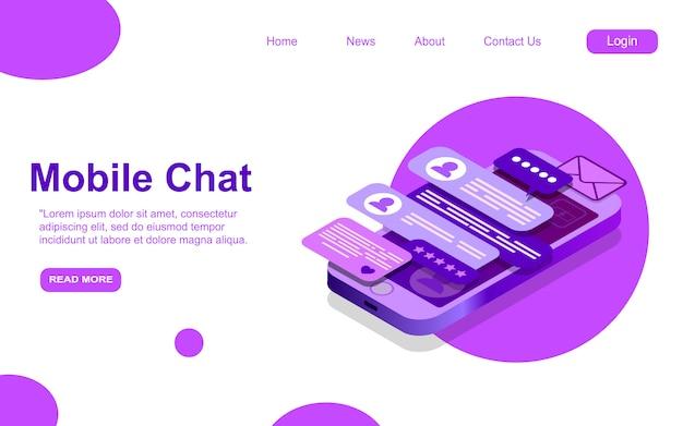 Mensagem de texto isométrica, diálogo de bate-papo móvel, conceito de mensageiro, teclado de telefone móvel, chatbot, suporte online, plano de fundo do aplicativo de feedback