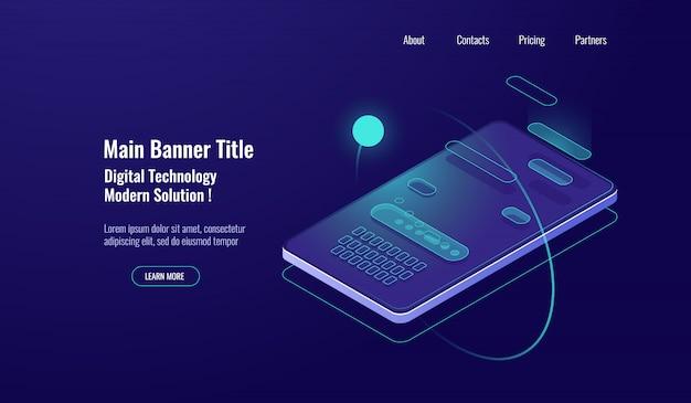 Mensagem de texto isométrica, diálogo de bate-papo móvel, conceito de mensageiro, teclado do telefone móvel