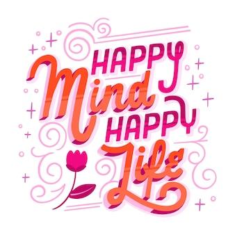 Mensagem de vida feliz mente feliz Vetor Premium