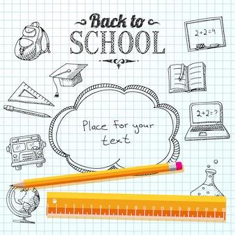 Mensagem de volta à escola no papel com balão