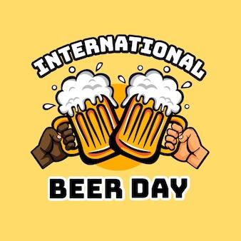 Mensagem do dia internacional da cerveja desenhada de mão