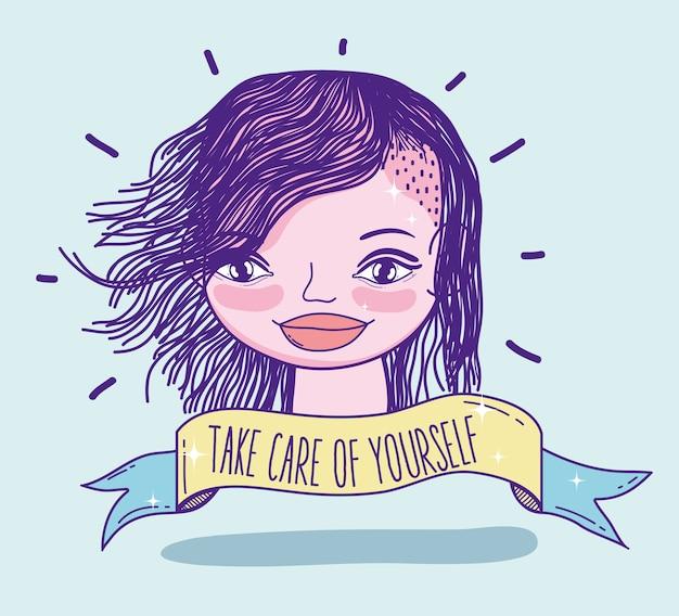 Mensagem do poder da menina com desenhos animados bonitos da mulher