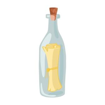 Mensagem em uma garrafa isolada no fundo branco. um mapa do tesouro em um ícone de garrafa. estilo de desenho animado. ilustração vetorial