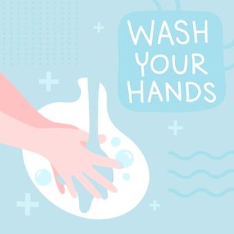 Mensagem higiênica para lavar as mãos