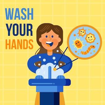 Mensagem ilustrada para lavar as mãos