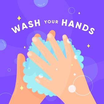 Mensagem motivacional de lavar as mãos