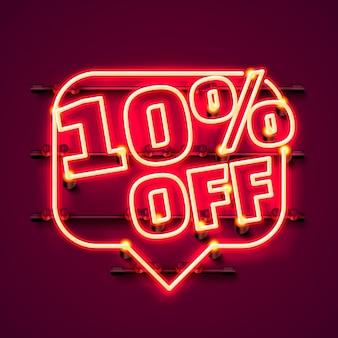 Mensagem neon 10 fora do banner de texto. sinal noturno. ilustração vetorial