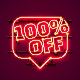 Mensagem neon 100 fora do banner de texto. sinal noturno. ilustração vetorial
