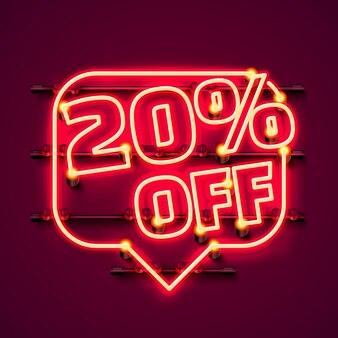 Mensagem neon 20 fora do banner de texto. sinal noturno. ilustração vetorial