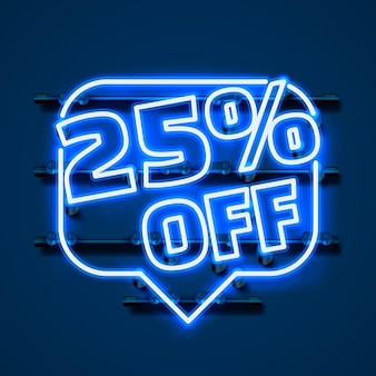 Mensagem neon 25 fora do banner de texto. sinal noturno. ilustração vetorial