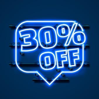 Mensagem neon 30 fora do banner de texto. sinal noturno. ilustração vetorial