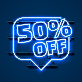 Mensagem neon 50 fora do banner de texto. sinal noturno. ilustração vetorial