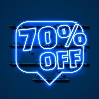 Mensagem neon 70 fora do banner de texto. sinal noturno. ilustração vetorial