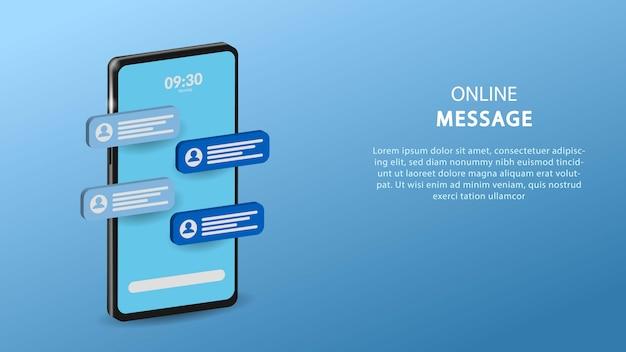 Mensagem online no celular, ilustração de bate-papo online