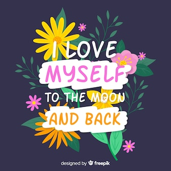 Mensagem positiva colorida com flores